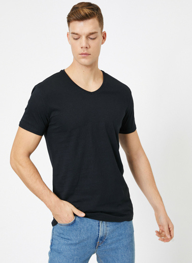 Koton V Yaka %100 Pamuk Slim Fit Basic T-Shirt Siyah